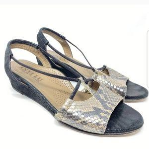 Anyi Lu Linda wedge black leather snake sandals 37